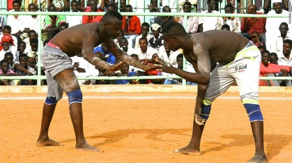 Wrestling in Nuba Mountains; continuation of ancient Nubian/Kushitic practice.